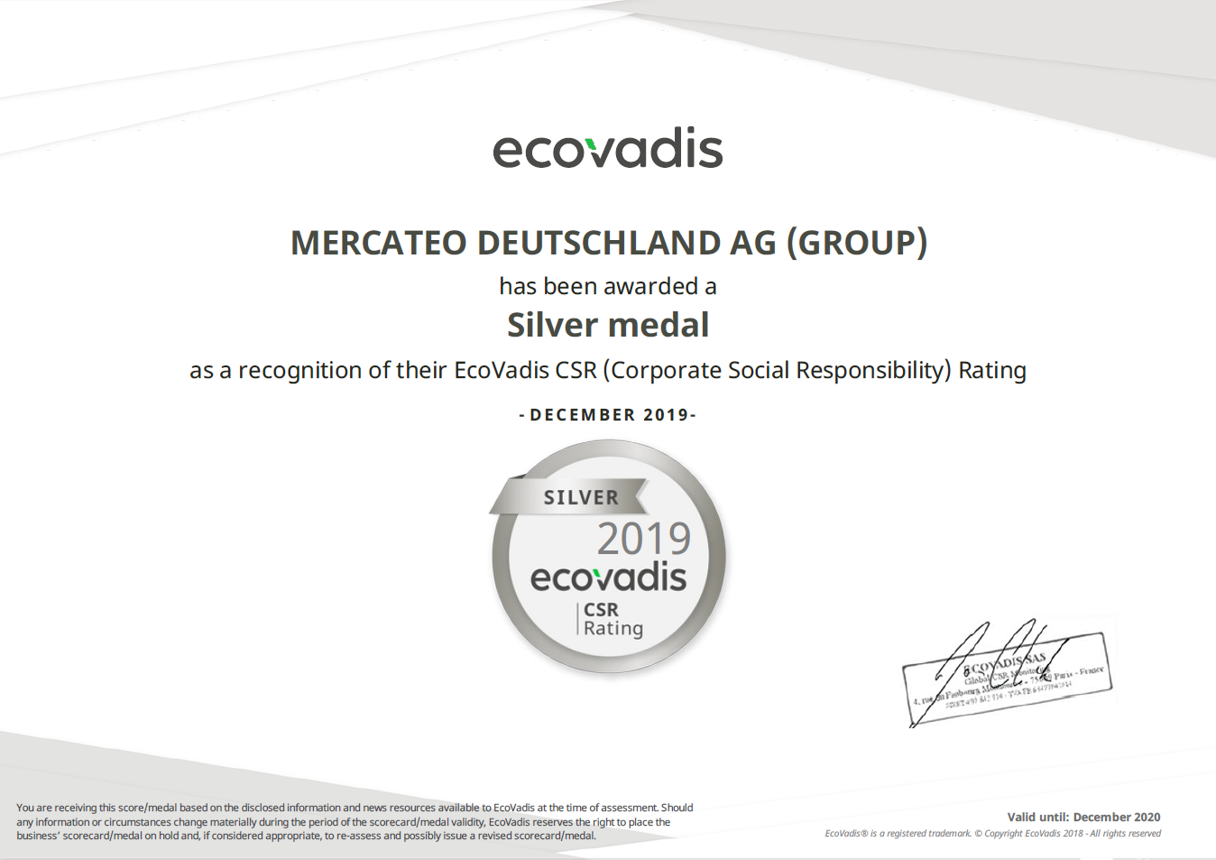 Mercateo Ecovadis Rating-certificaat